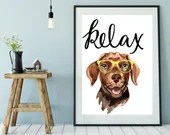 Relax Printable Dog Art, Chocolate Lab, Dog Painting, Watercolor Prints, Downloadable   Front Seat Ryder