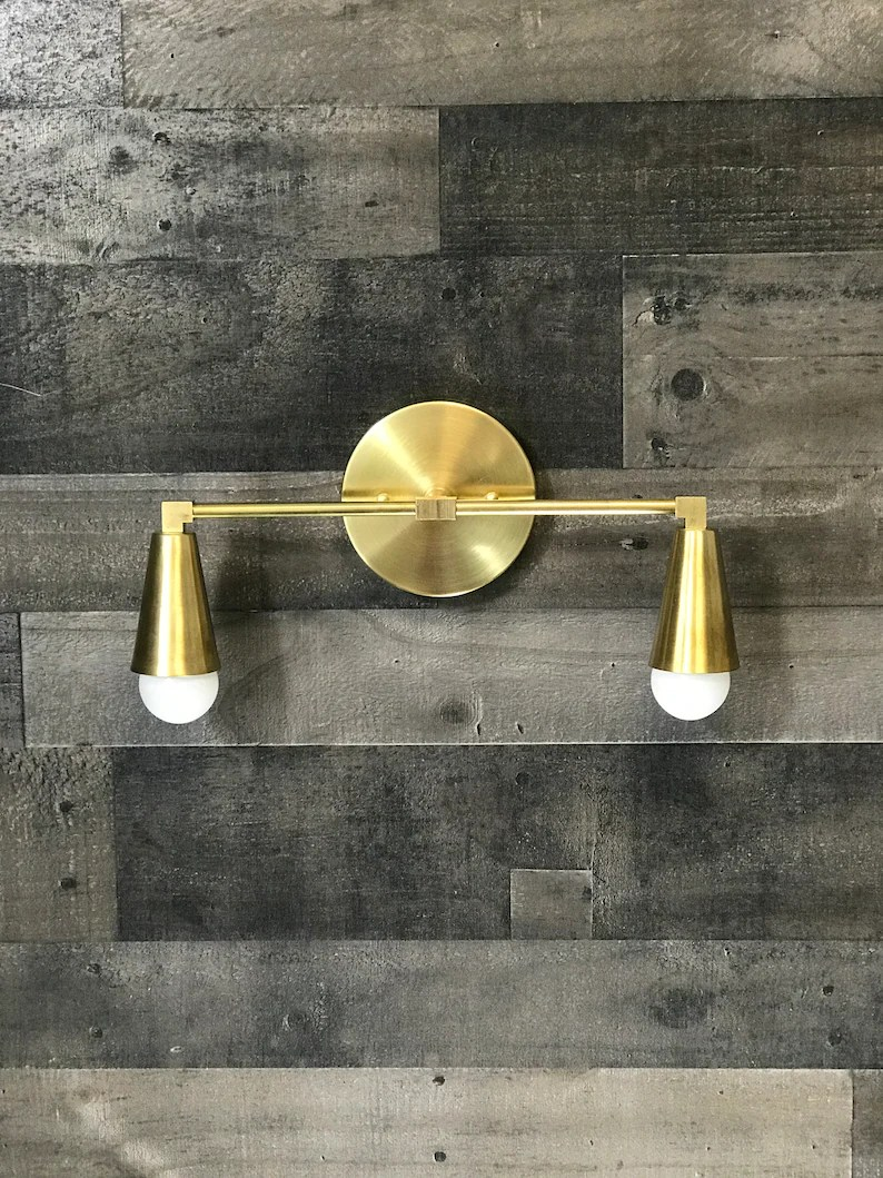 Handmade In U S A Bathroom Vanity Sconce Black And Brass Mid Century Modern Cone Two Light Mid