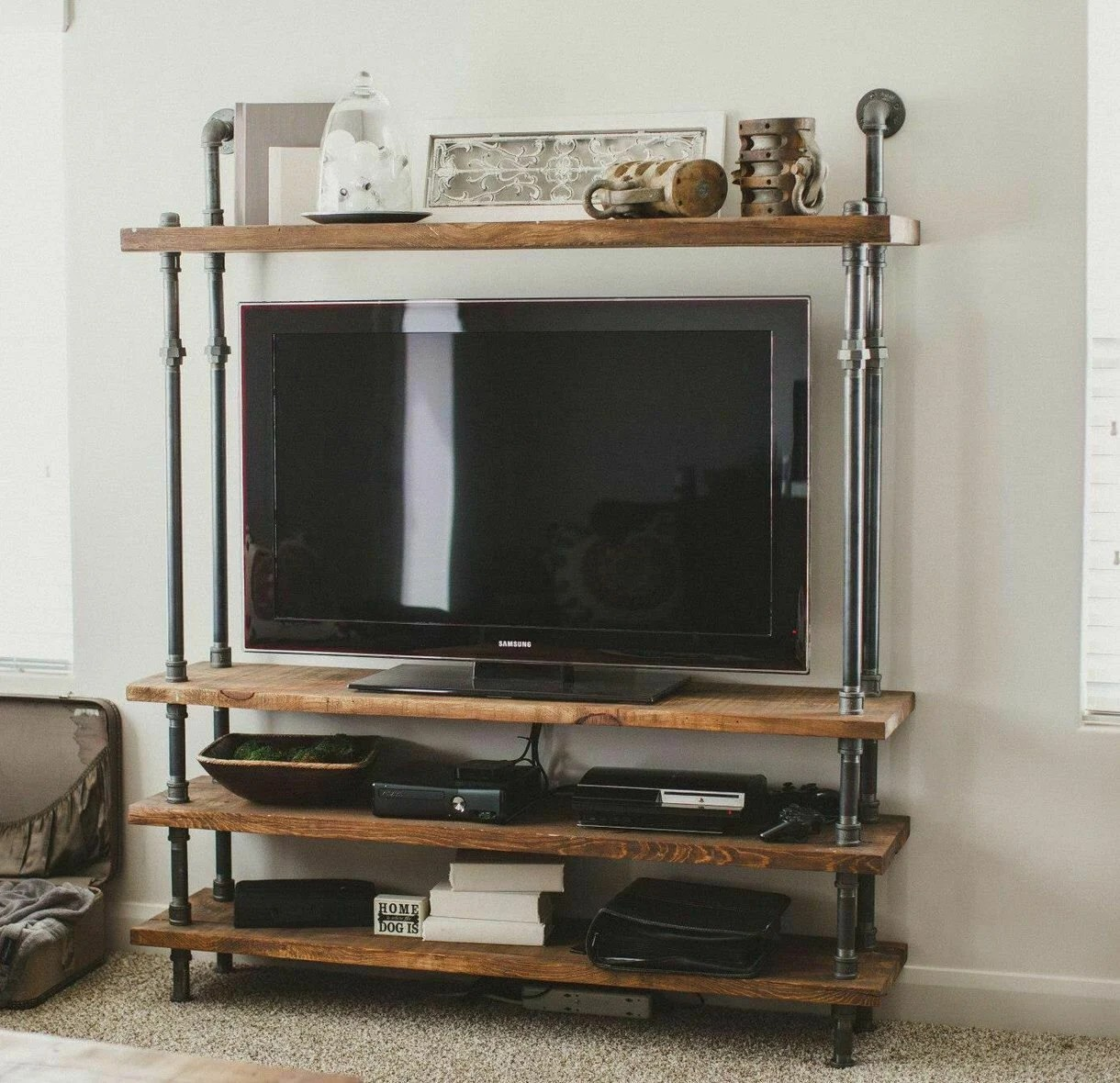 4 Shelf Bookcase Iron Pipe Shelve Industrial Pipe Shelve Tv Stand Storage Unit Supply Area Wooden Bookcase Free Shipping To Us Continental