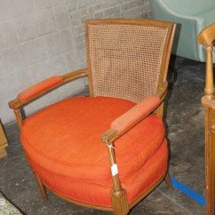 Orange Upholstered Chair Chaise Chairs For Sale Vintage Cane Back Accent Etsy Image 0