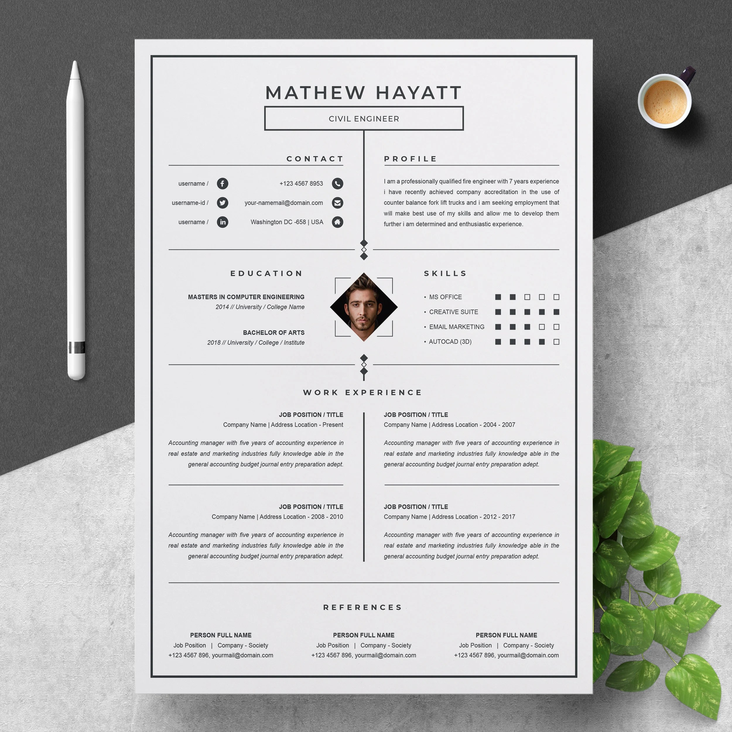 Executive resume templates for 2021. One Page Resume Template With Cover Letter Ms Word Format Etsy