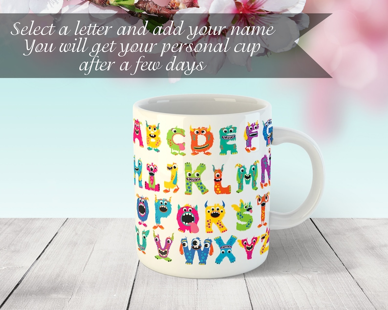 monster alphabet name cup