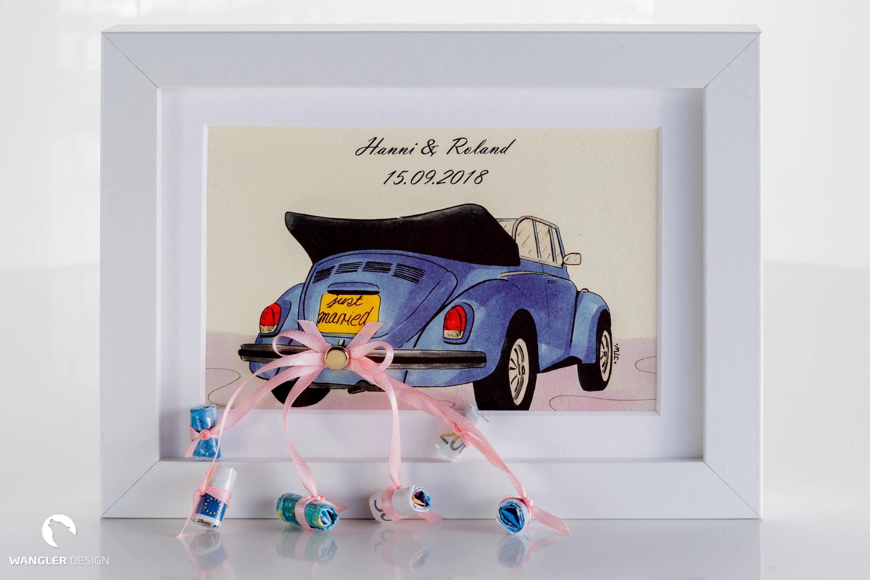Geldgeschenk zur Hochzeit Rahmen mit Bild Auto  Etsy