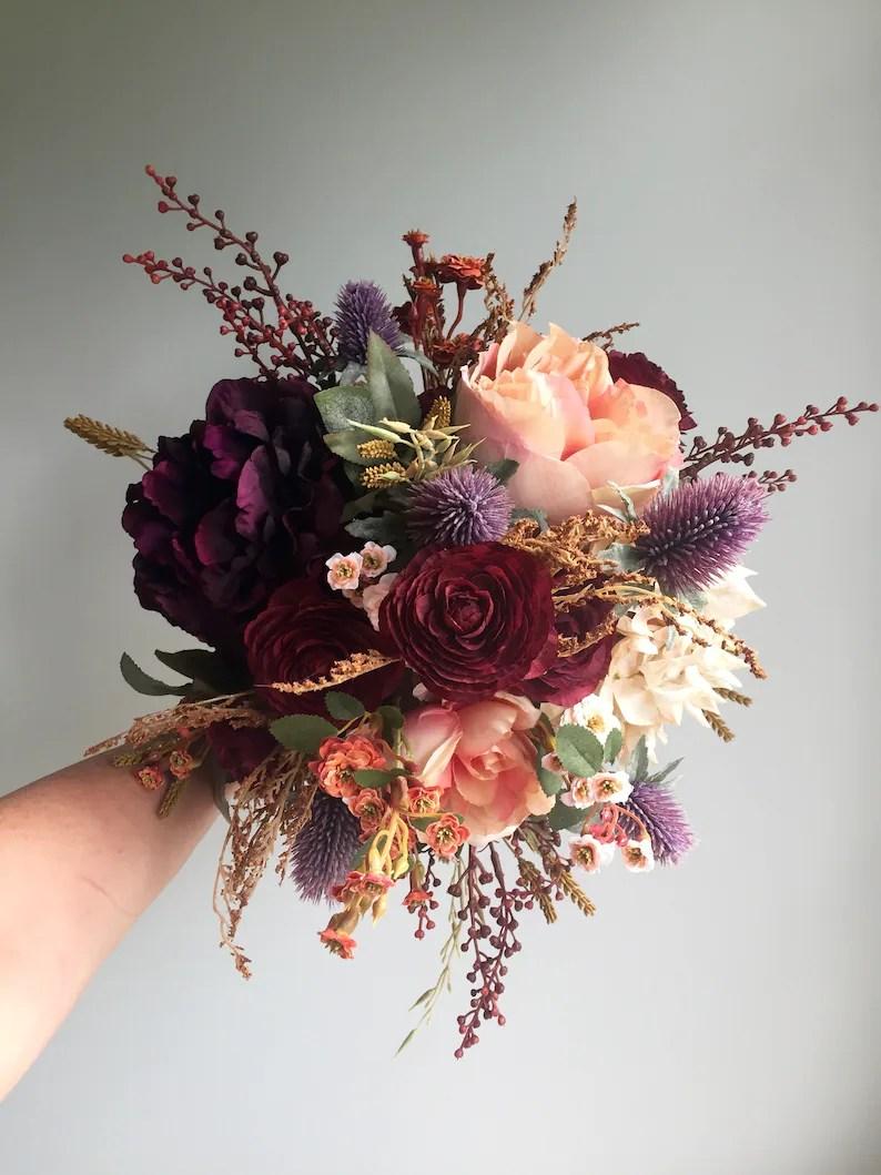 fall wedding bouquet silk