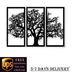 Metal Wall Art Decor For Living Room Large Clocks Etsy Black Tree Of Life 3 Pieces Home Modern Rustic Special Design New Gift