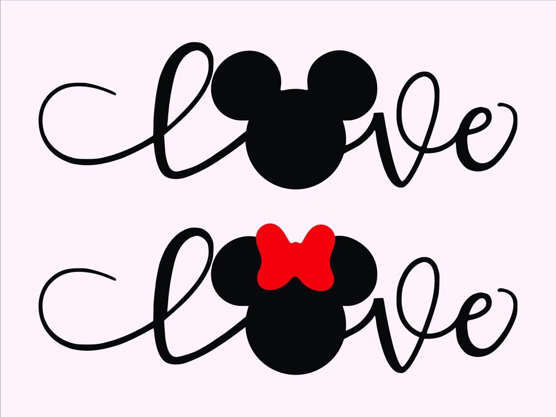 Download Love Wording Svg/ Disney Love Svg/ Mickey Minnie Designs ...