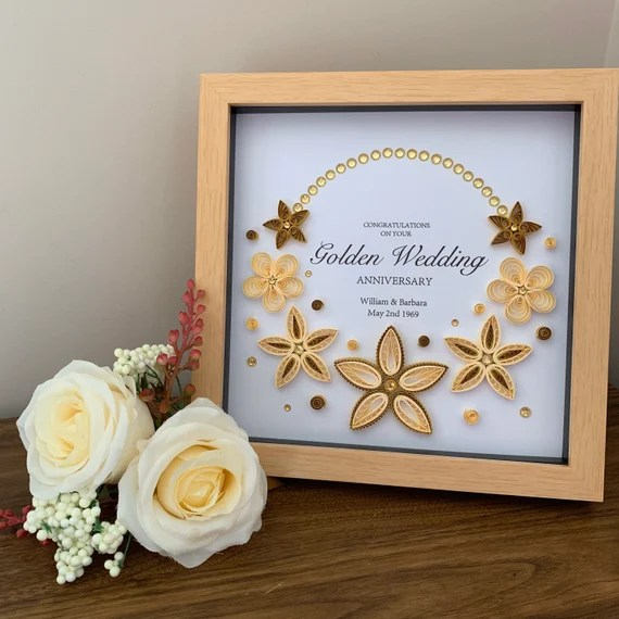 50th Wedding Anniversary Frame Golden Anniversary Gift Etsy