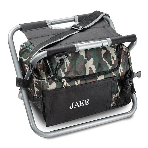 fishing cooler chair inflatable outdoor lounge etsy personalized camo folding stool gifts for him groomsman gift boyfriend