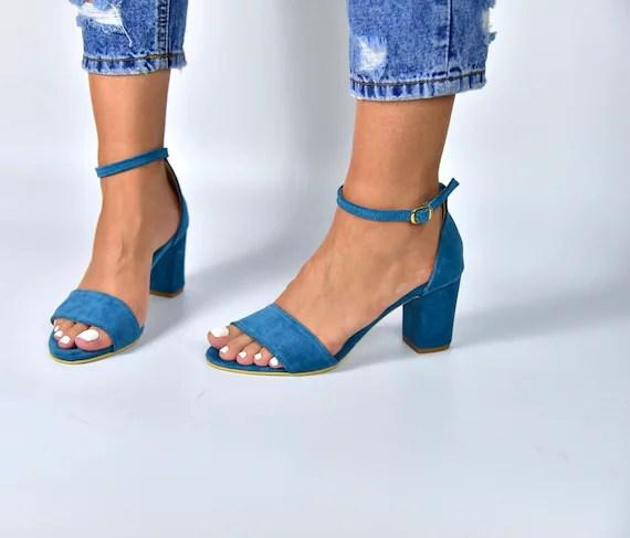 Image result for Light blue leather sandals Aurelia Block heels