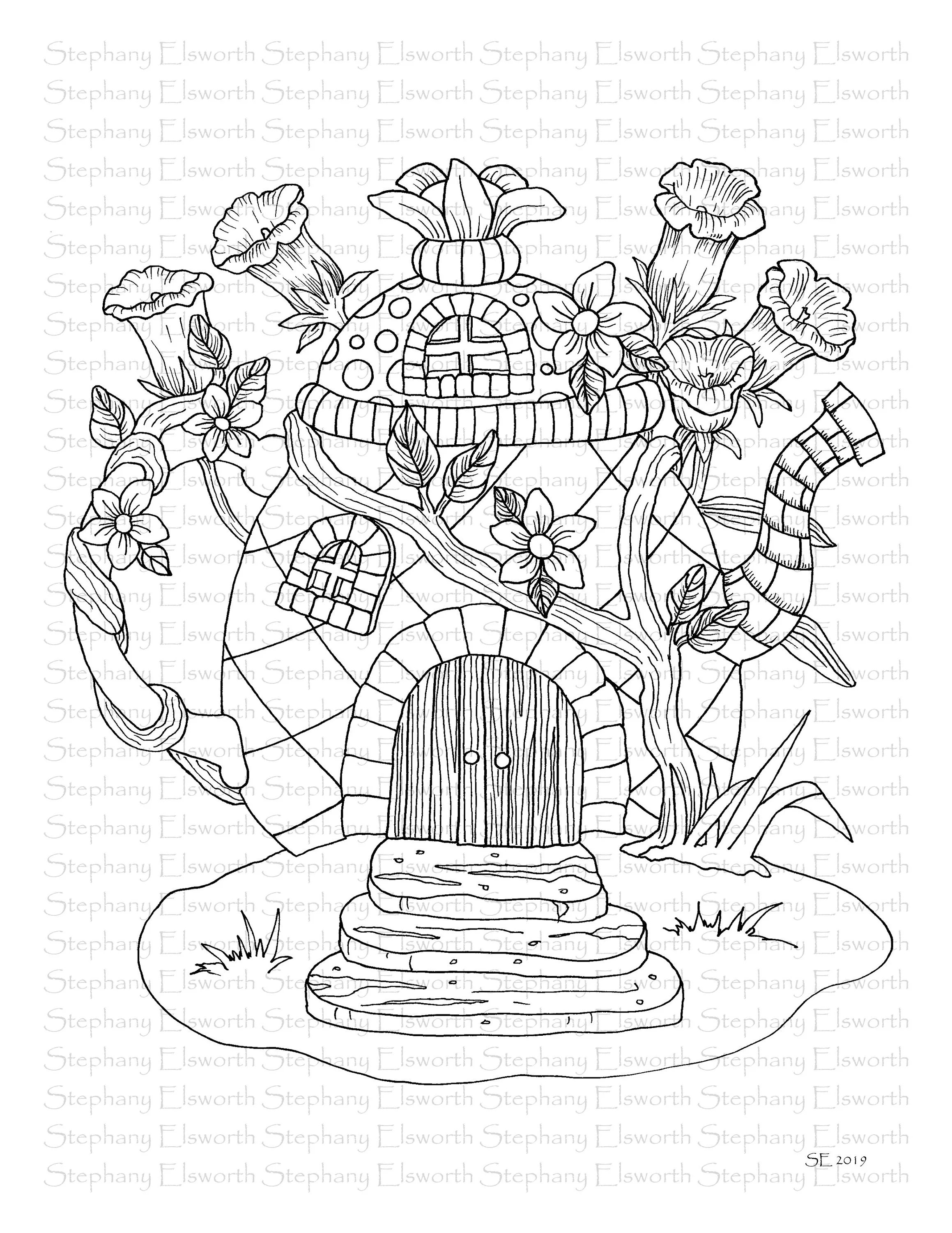 Faerie Houses II Set 4 PDF Printable Coloring Pages 16-20