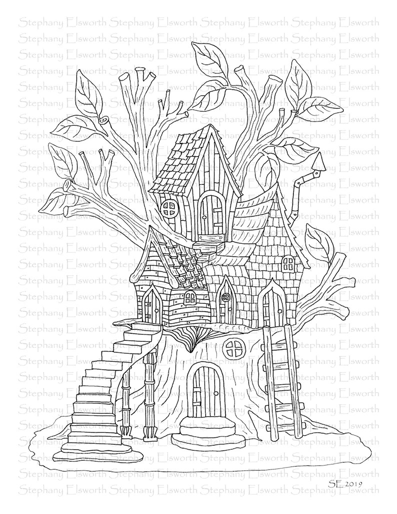 Faerie Houses I Set 4 PDF Printable Coloring Pages 16-20