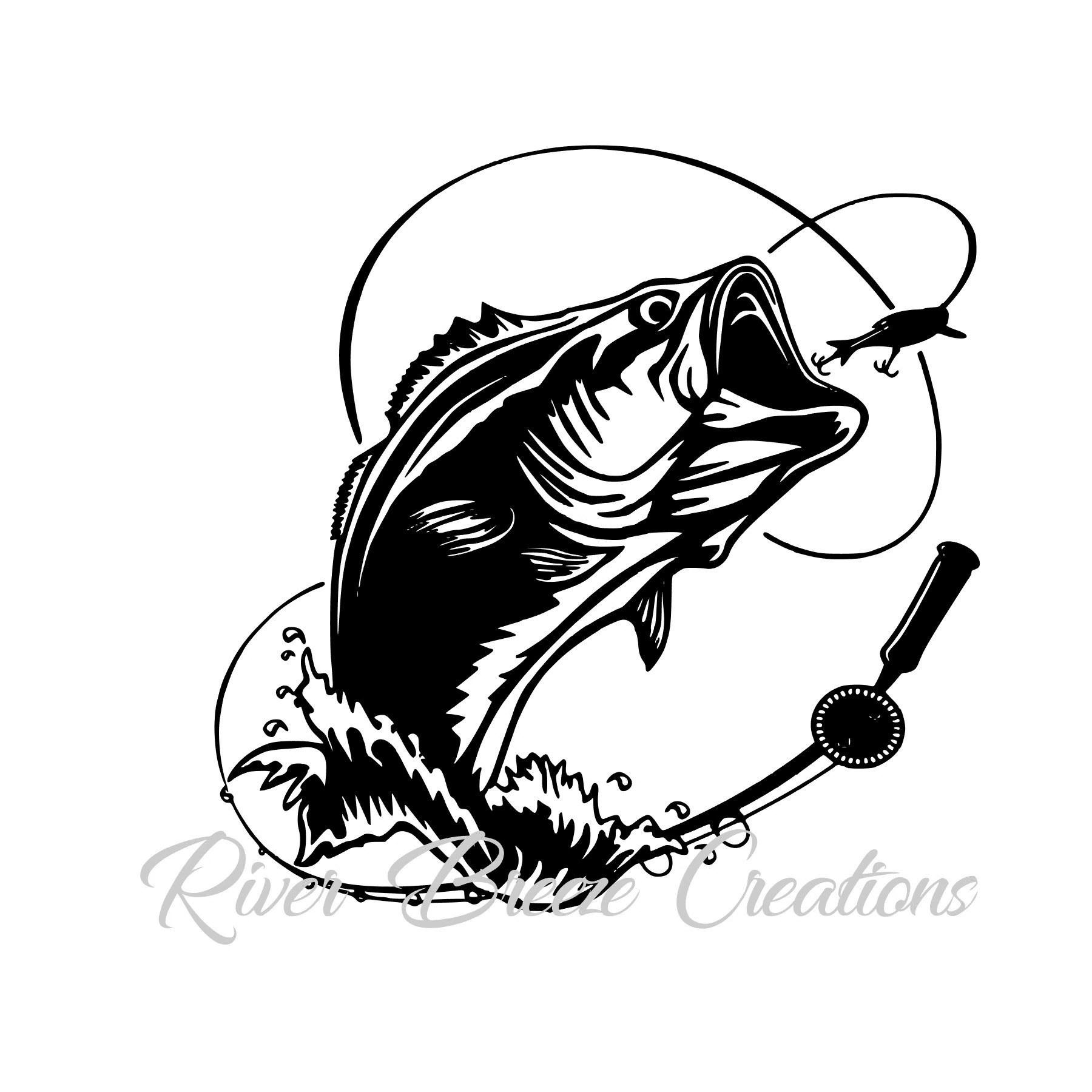 Bass Fish Svg Silhouette Svg Cricut Svg Large Mouth Fish