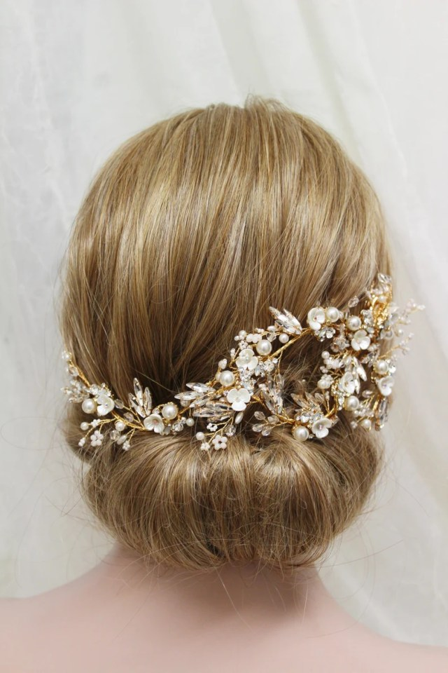 gold wedding hair vine ,back headpiece , crystal pearl hair piece, floral bridal headpiece, wedding hair piece, bridal hair clip, uk