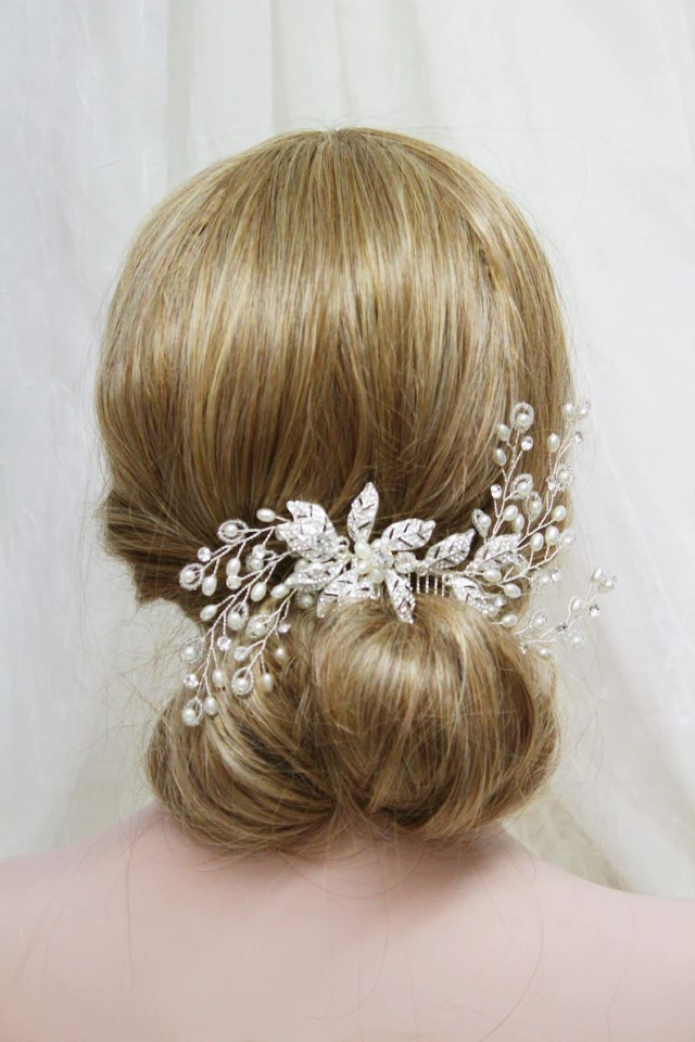 silver bridal hair comb, wedding hair piece, leaf hair vine, bridal headpiece, wedding hair accessory, pearl back headpiece, uk