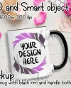 Black Handle Mug Mockup Black Rim Mug Mockup Sublimation Etsy