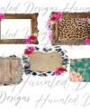 Vintage Shabby Chic Rose Leopard Frame Set Background Bundle Etsy