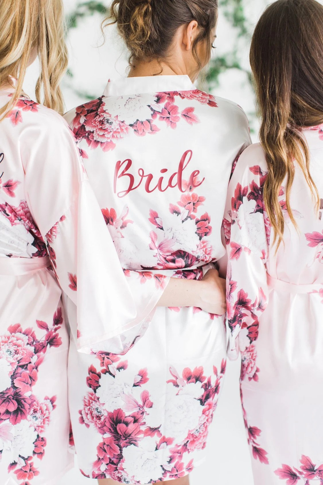 Silk Floral Robes Burgundy Floral Robes Bridesmaid Robes Pink