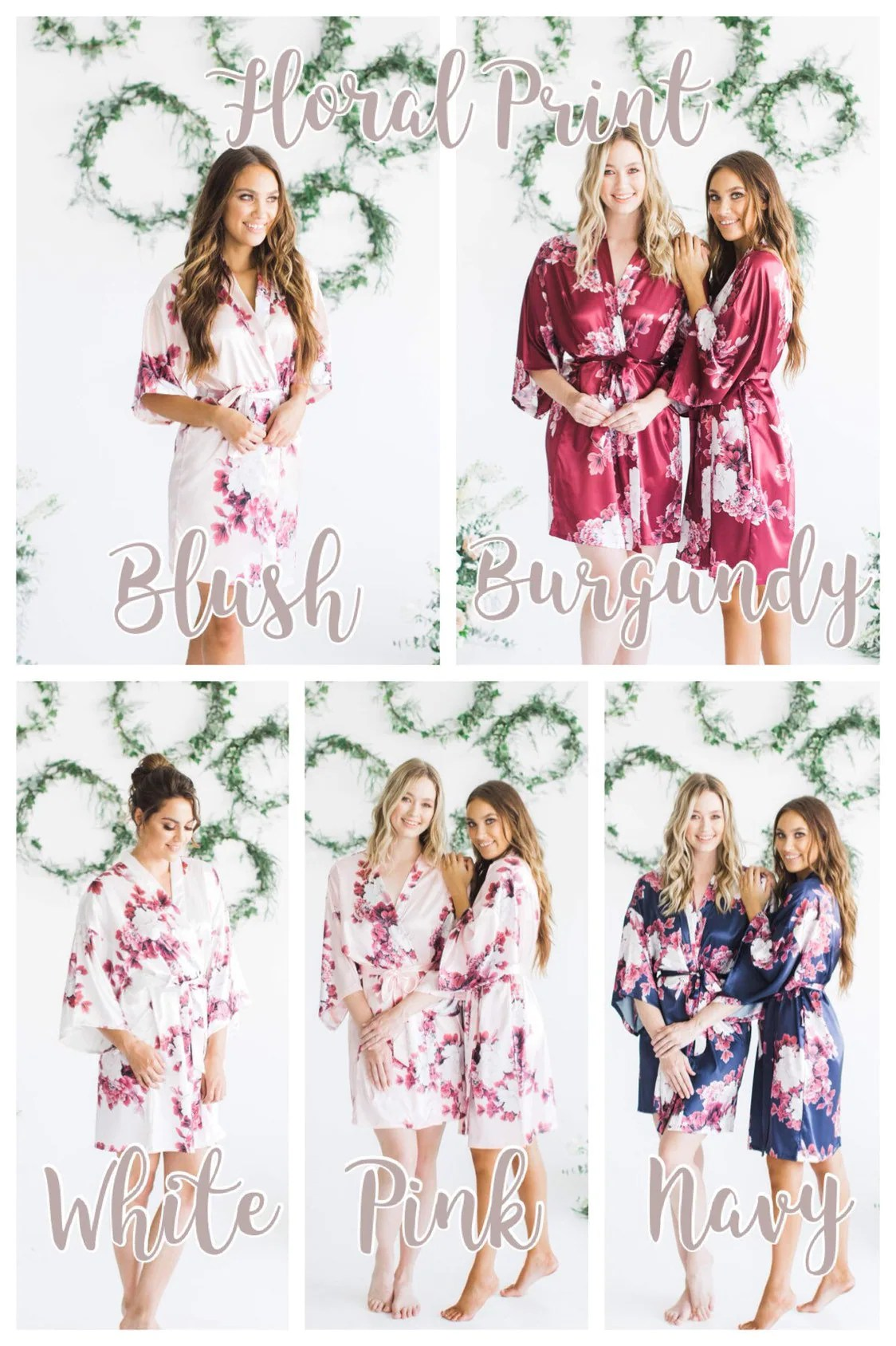 Silk Floral Robes Burgundy Floral Robes Bridesmaid Robes image 5