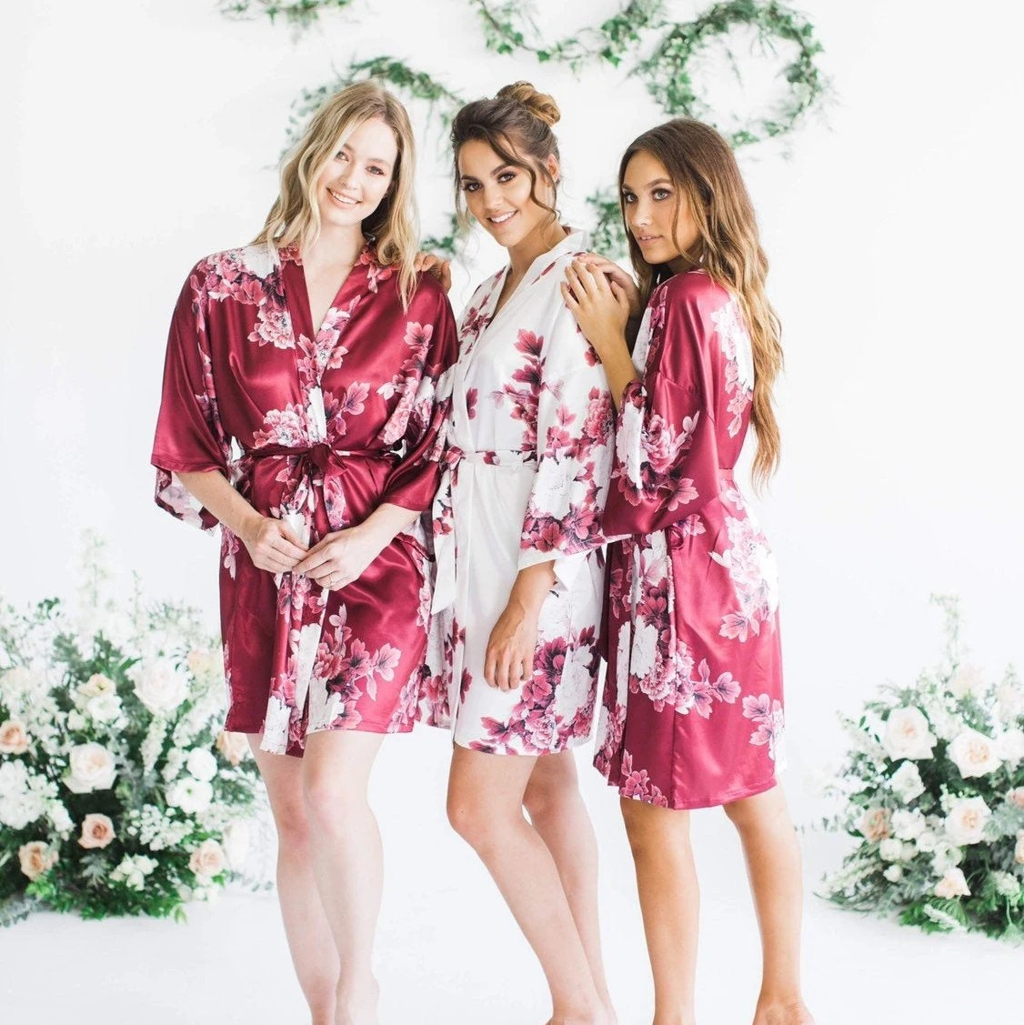 Silk Floral Robes Burgundy Floral Robes Bridesmaid Robes Burgundy