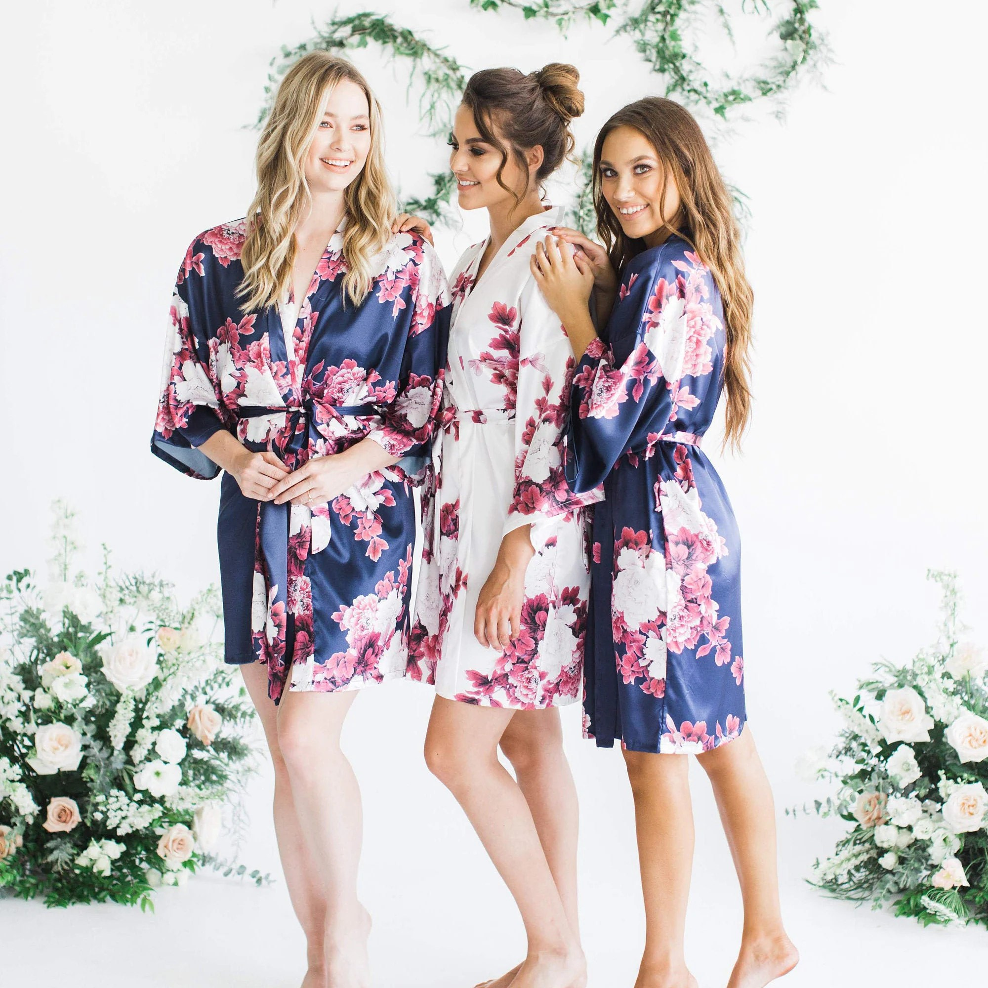 Silk Floral Robes Burgundy Floral Robes Bridesmaid Robes Navy