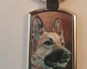 Artistic prints of dog and cat portraits on keyrings | German Shepherd | Maine Coon | Cocker Spaniel