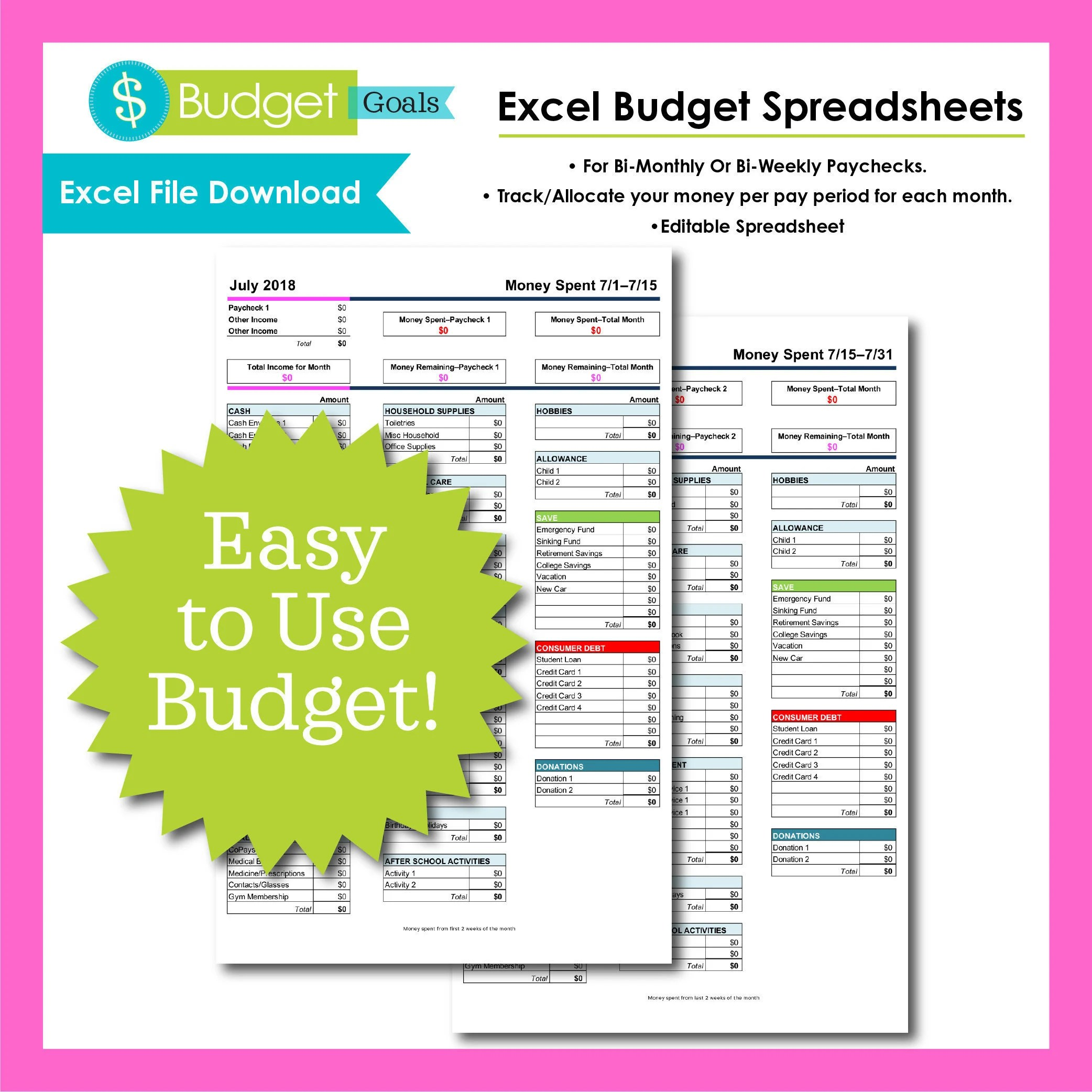 Budget templates | Etsy