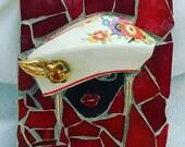 Mosaic mini art- mosaic beret- girl in a beret - mosaic hat art- mosaic french beret art- red mosaic- red art- mini art pieces
