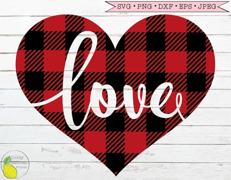 Download Love Valentine svg Buffalo Plaid Red Heart Valentines Day ...