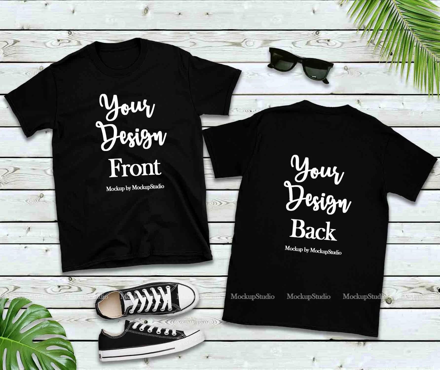 Png cut files posted daily! Front Back Blank T Shirt Mockup Black Shirt Mock Mockups Glassware Free Psd Templates