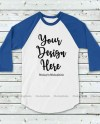 Blue And White Raglan Mockup Baseball Shirt Mock Up Raglan Etsy