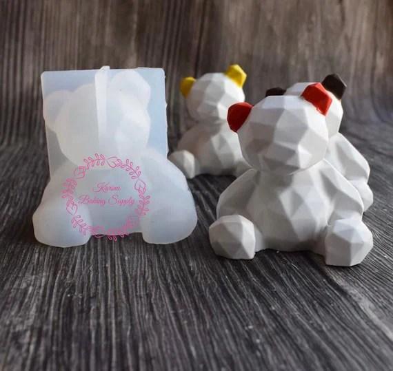 moule en silicone ourson geometrique 3d moule silicone moule geometrique ours en peluche moule a chocolat moule a bonbons moule fondant gumpaste