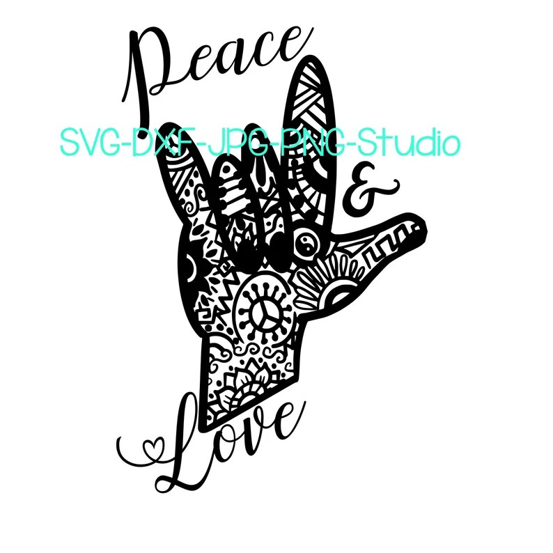 Download Sign Language Love and Peace Mandala Hand I love You SVG ...