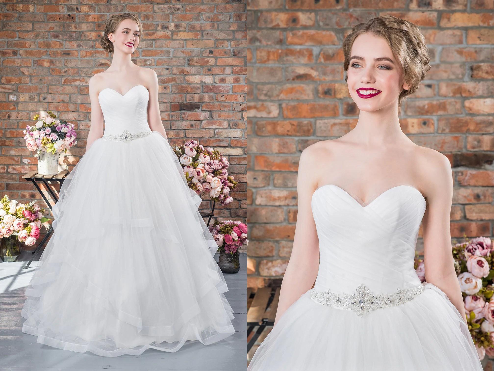 Strapless Ball Gown Boho Wedding Dress Chiffon Ruffled