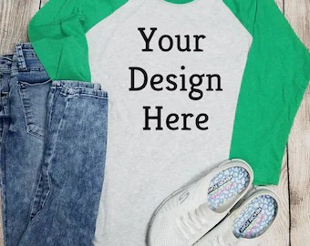 Download Nextlevel Green Raglan Mockup Digital Download , PNG ...