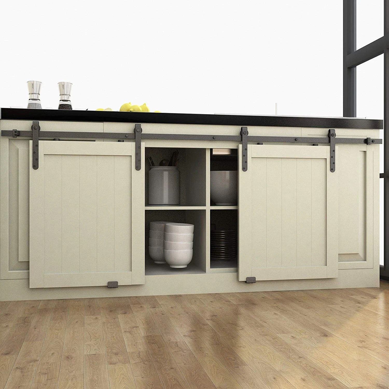 Mini Black Steel Wood Sliding Cupboard Closet Cabinet Barn Door Window Shutter Hardware Track Strap Arc Hanger Roller Set Kit