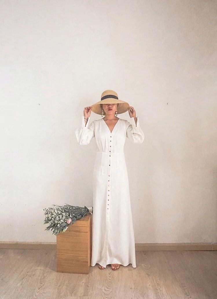 Simple Wedding Dress Silk Charmeuse Dress Long Sleeves  Etsy