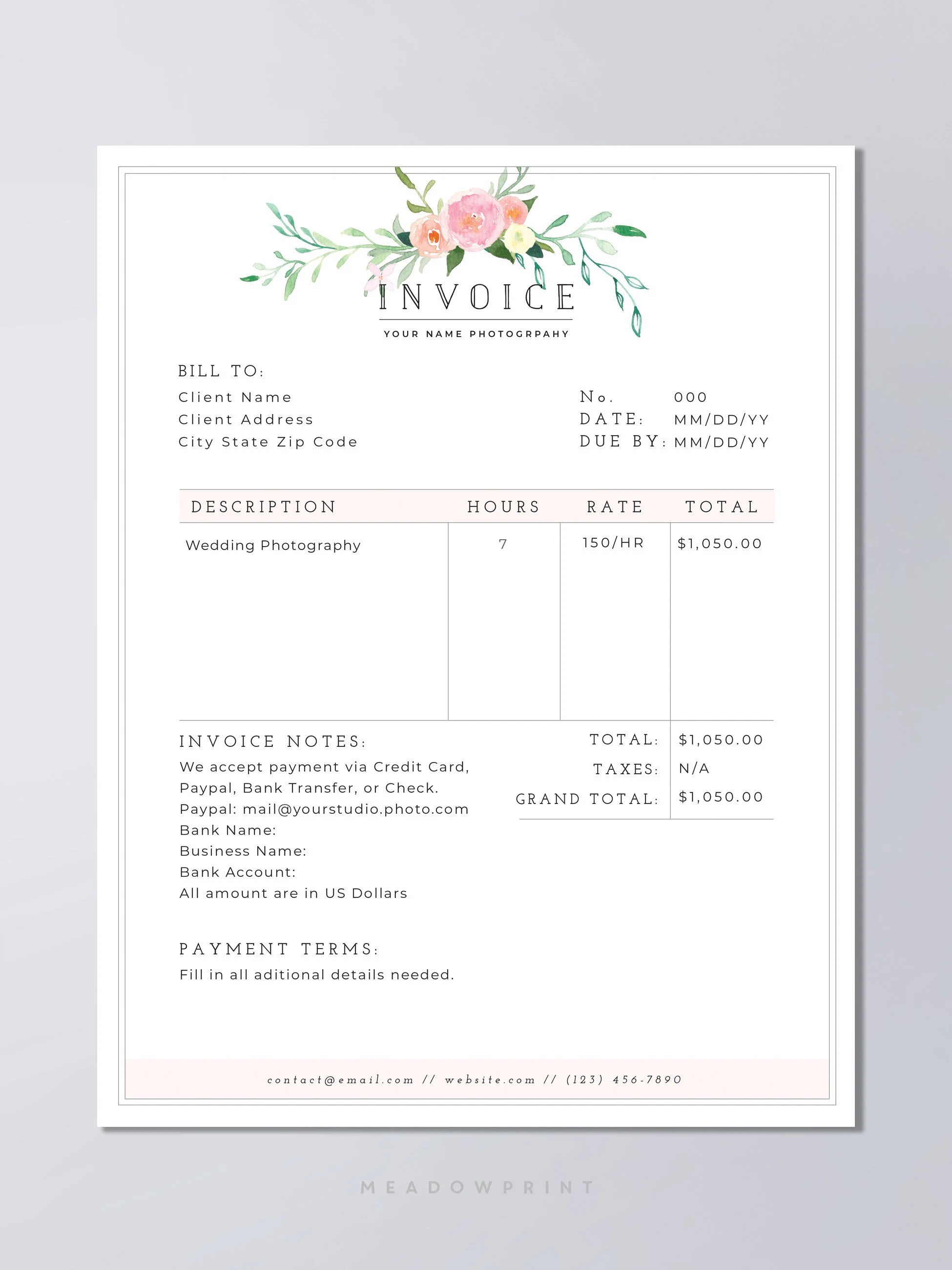 Invoice template | Etsy