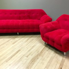 Fuzzy Sofa Toulouse Leather Next Red Vintage Gondola Couch Chair Retro Etsy Image 0