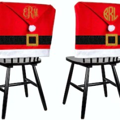 Christmas Chair Covers White Farmhouse Chairs Xmas Etsy Set Of 2 4 6 Monogrammed Personalized Santa Coverings Table Decor