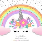 silver glitter unicorn clip art