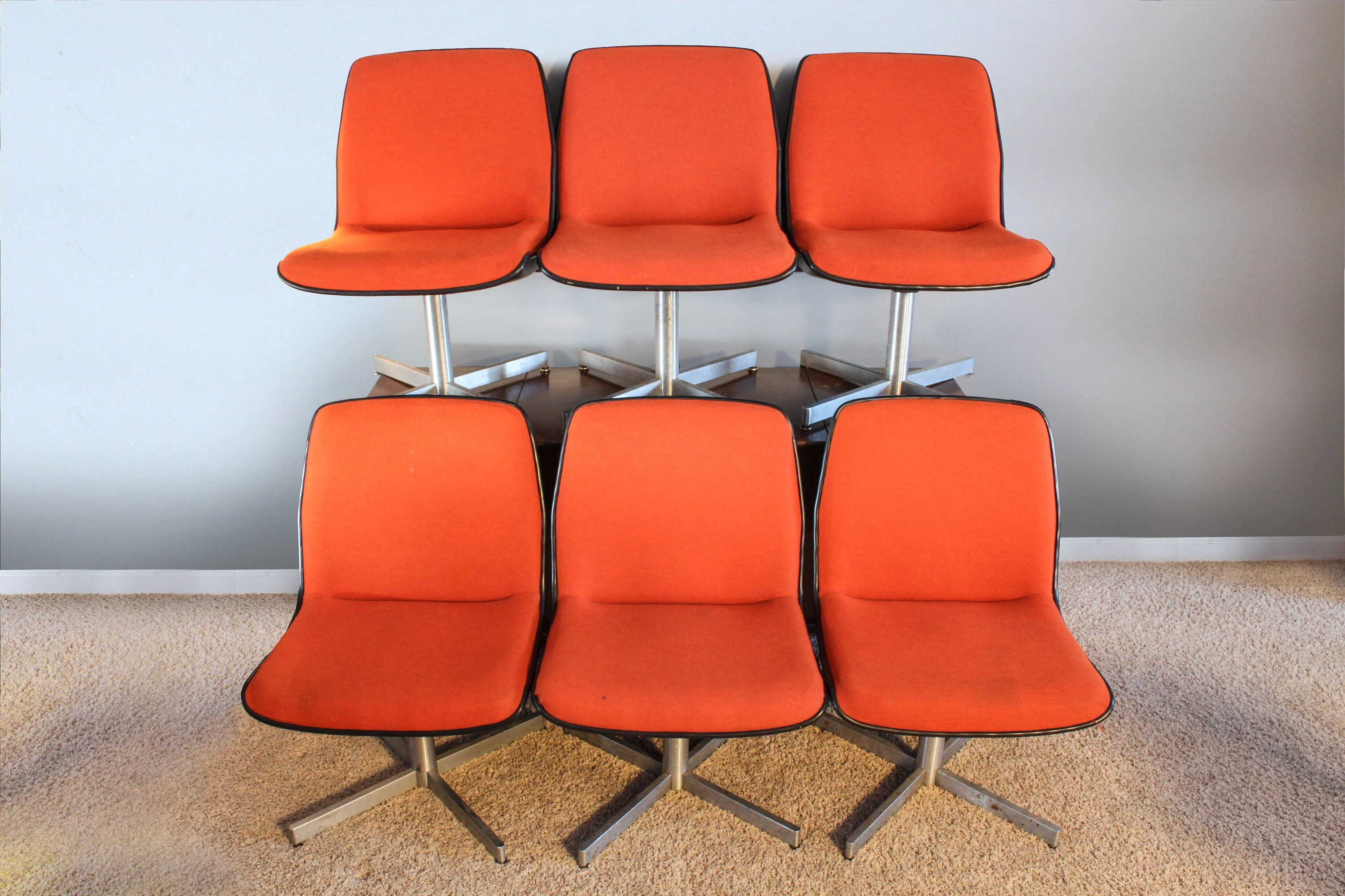 orange upholstered chair covers john lewis vintage mid century swivel chairs by etsy image 0