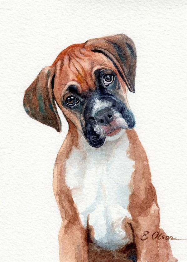 Original Watercolor Boxer Dog Painting