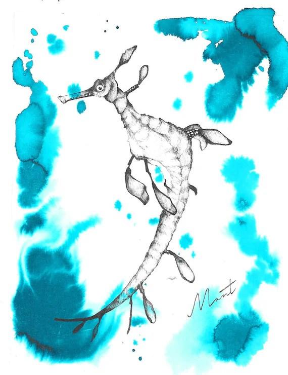 Sea Dragon Drawing : dragon, drawing, Weedy, Dragon, Original, Drawing/Painting