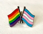 The LGBTQ + TRANSGENDER Rainbow Pride DOUBLE Flag Pin Badge for Lapels, Shirts, Backpacks, Hats, etc...