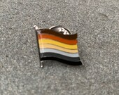 "The ""Pompeo"" BEAR Pride rawr (LGBTQ) Flag Silver-Back Pin Badge for Lapels, Shirts, Backpacks, Hats, etc..."