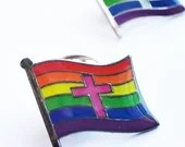 PINK* LGBTQ Pride Christian Cross Rainbow Pin Badge for Lapels, Shirts, Backpacks, Hats, etc...