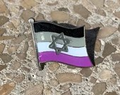 Asexual Pride & Star of David Jewish + Israel Pin Badge for Lapels, Shirts, Backpacks, Hats, etc...