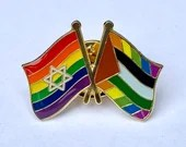 "Israel + Palestine Progress Pride ""Deal of the Century"" #WeWantToLive Rainbow Combination Pin"