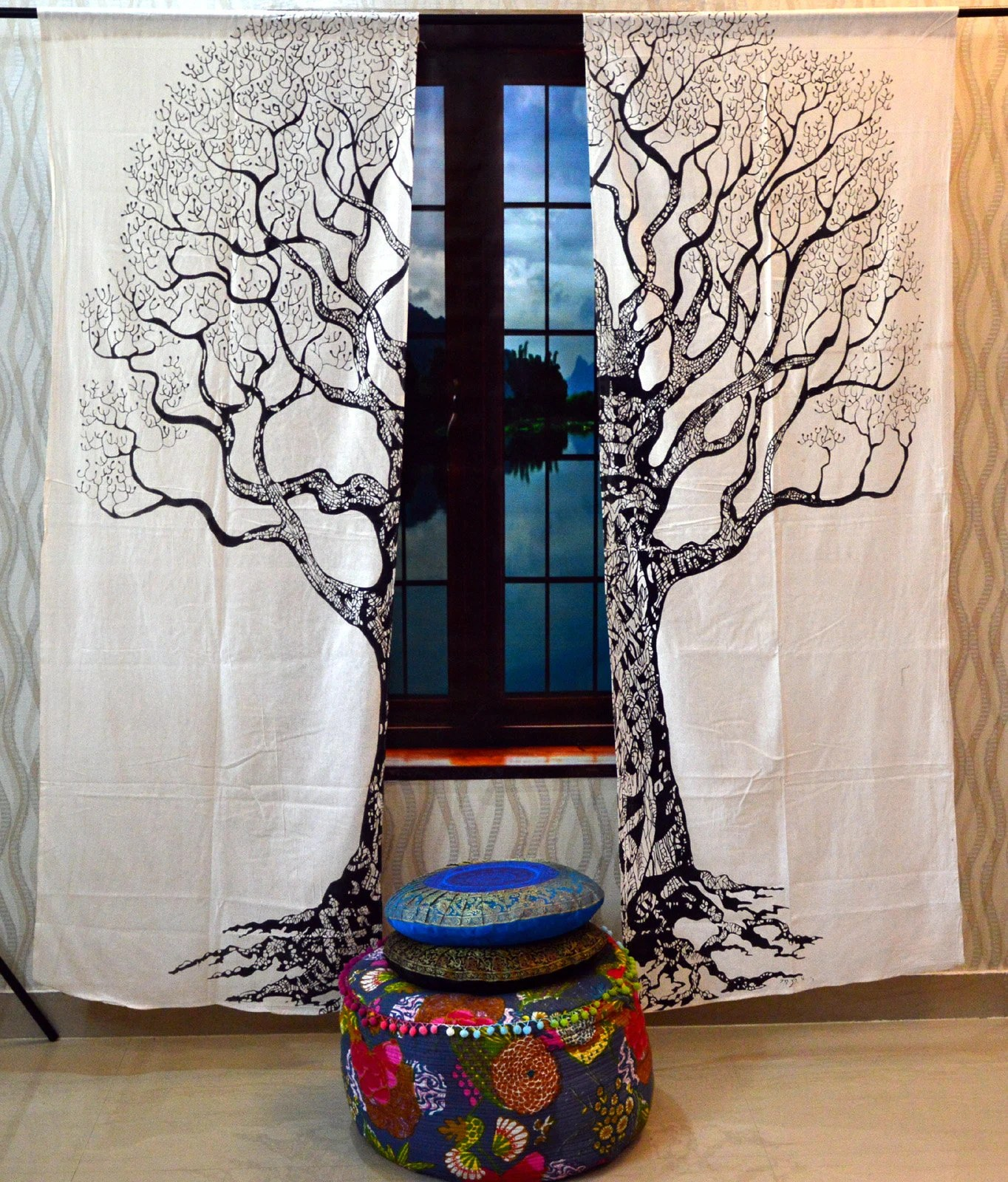 Tree Of Life Curtains Living Room Curtain Boho Black And White Tapestry Window Dorm Curtains For Rods Drapes Valances Window Treatments Art