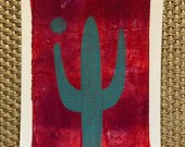 "ORIGINAL MONOPRINT: ""Saguaro"" 